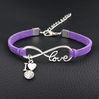 Wholesale wholesale volleyball - AFSHOR 2018 New Arrival I Love Volleyball Charms Bracelet Antique Silver Infinity Love Leather Bracelets For Women Fashion Jewelry