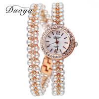 Wholesale Korea Ladies Watch - Duoya Brand Korea Luxury Brand Pearls Bracelet Watch Women Female Ladies Dress Fashion Quartz Wristwatch