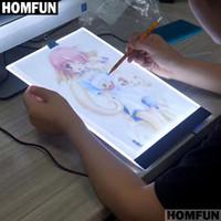 cruces de mesa al por mayor-HOMFUN A4 LED Artista Delgado Arte Stencil Tablero de Dibujo Caja de Luz Cuadro de Seguimiento Pad 5D Diy Diamante Bordado Pintura Punto de Cruz