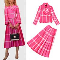 jupe costumes femmes bureau dames achat en gros de-HAUTE QUALITÉ Designer Runway Rose Rose Plaid Imprimer Deux Pièces Ensembles Robe Femmes élégantes Long Sleeve Blazer + Longue Jupe Bureau Lady Suits