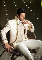 en çok satan bağlar toptan satış-Son En çok satan Fildişi Damat Smokin Adam Balo Blazer Takım Erkekler Düğün Damat Suit (Ceket + Pantolon + yelek + Kravat) 76