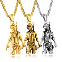 Wholesale soldier women costume resale online - Stainless Steel Soldier Pendant Necklace Women Men Masquerade Fancy Dress Party Costume Jewelry Fashion Accessories Gift for Game Player