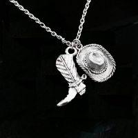 texas schmuck großhandel-12 teile / los Cowboy Hut Boot Halskette Wüste Stiefel Halskette Südlichen Texas Schmuck