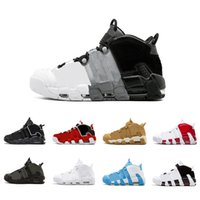 Wholesale Flax Color - GOLD Tri-Color Flax Air more Uptempo QS Olympic Varsity Gym Red Black Mens Basketball Shoes Airs 3M Scottie Casual Shoes Sneakers 41-47