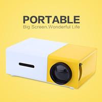 leitor de áudio mini usb venda por atacado-Projetor portátil YG300 LED 400-600LM 3.5mm de Áudio 320x240 Pixels YG-300 HDMI USB Mini Projetor Home Media Player