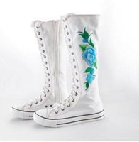 Wholesale knee high canvas sneaker boot - free shipping new Black White Embroidery Flower Canvas Knee High Lace Up Zip Flat Sneakers Shoes