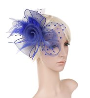 Wholesale feather veil hair resale online - Bridal veil headwear new feather net Party dress headwear two rose hoops colors new