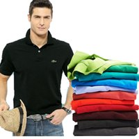 hombres s polo 3d al por mayor-TopsTees de alta calidad camisetas de los hombres de los hombres de las marcas de los hombres de negocios camisas de polo del bordado 3D Turn-down cuello mens polo 9099