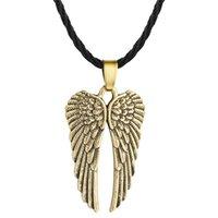 aile gardien achat en gros de-5pcs / lot Angel Wing Guardian Choker Colliers Hommes Vintage Gothic Feather Pendentifs Antique Silver Tone Kolye Mode Bijoux