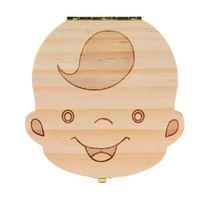 junge bilder großhandel-Zahnbox für Baby Save Milchzähne Jungen / Mädchen Bild Holz Aufbewahrungsboxen Kreatives Geschenk für Kinder