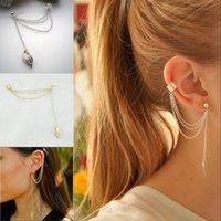 gold stulpe ohrringe verkauf großhandel-Neue Mode Gold Silber Farbe Blatt Quaste Lange Ohrringe Pendentes Ohr Manschette Frauen brincos Heißer Verkauf