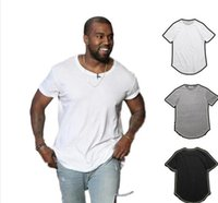 ingrosso mens bianchi maglietta vuote-T-shirt da uomo Kanye West Extended Hem Curve Long Line Top Tees Hip Hop Urban Blank Justin Bieber OL Solid White Nero Alta qualità