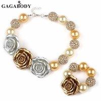 ostern klobige anhänger großhandel-Valentine Easter WhiteYellow Rose Acryl Anhänger Chunky Perlen Halskette Mädchen Bubblegum Halskette mit passendem Armband