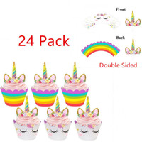 Wholesale baby toppers - 24pcs Rainbow Unicorn Cupcake Cake Wrappers Toppers Baby Shower Kids Birthday Cupcake Wrappers Unicorn Rainbow Cake Toppers BBA257