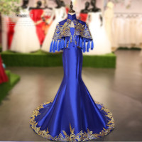 ingrosso vestiti blu orientali-Royal Blue Stain Chinese Dress Women Phoenix ricamo lungo Cheongsam Qipao abito da sera moda estate abiti moderni orientali