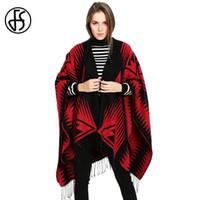 FS Cachemire Poncho Manteau Glands Rouge Noir Géométrique Femmes Cardigan  Cape Hiver Chaud Style Ethnique Pashmina Wrap Écharpes Surdimensionné 2723be045b5