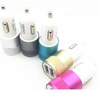 cable cargador mini usb iphone al por mayor-Mini Material de aluminio Dual 2 puertos Adaptador de cable de cargador de coche universal USB para iphone 8 X ipad 2 3 4 Samsung Galaxy S4