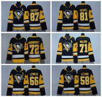 Wholesale red ads - AD Pittsburgh Penguins 2018 Ice Hockey Jerseys Men 58 Kris Letang 30 Matt Murray 66 Mario Lemieux 59 Jake Guentzel Kids Youth Women Black