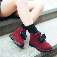 bebek bot satışı toptan satış-Satışa 2018 Sonbahar Kış Çocuk Ayakkabıları PU Akın Deri Ayak Bileği Bebek Çizmeler Çocuklar Sıcak Çizmeler Kızlar Moda Papyon Ayakkabı Boyutu 27-37