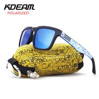 KDEAM 2017 Gafas de sol deportivas clásicas Hombres polarizados Gafas de sol  cuadradas Marco azul Diseño de nieve con estuche original KD901P-C20 dadc2c6d44ce
