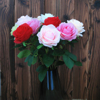 flores brancas verdes alaranjadas venda por atacado-Atacado 100 pçs / lote Encantador Artificial Flores Rosas Buquê Branco Rosa Laranja Verde Vermelho para casa de casamento decoração do hotel T2I089