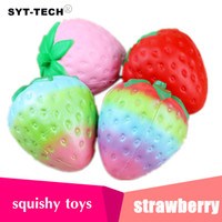 Wholesale kawaii phone charms - 4 colors 12cm big Colossal strawberry squishy jumbo simulation Fruit kawaii Artificial slow rising squishies queeze toys bag phone charm