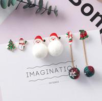 boucles d'oreille santa achat en gros de-Boucles d'oreilles de Noël Arbre de Noël Santa Claus Santa Claus Bonhomme de neige Boucles d'oreilles pour femmes Filles Cadeaux de Noël LJJK1063