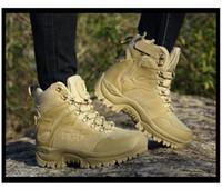 baixo calcanhar botas de combate venda por atacado-Mens inverno Botas Táticas Militares Deserto De Couro Ao Ar Livre Botas de Combate Do Exército Caminhadas Sapatos de Viagem Botas Botas de Neve Masculino Trekking US11 12