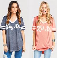 Wholesale little sister shirt - Women Ladies Summer Big Sister Little Sister Short Sleeve Casual Shirt Tops Loose BFF Shirts Girls Sister Top Short Sleeve Shirt LJJK941