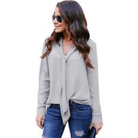 9cfccf940ebc9 Kadın Artı Boyutu V Yaka Gömlek Tops Casual Seksi Kadınlar Halter Şifon  Bluzlar Uzun Kollu Şifon T Shirt Sonbahar İlkbahar Yaz Tees