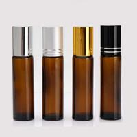 aromatherapie bernsteinglasflaschen großhandel-10ml 1/3 Unzen dicke AMBER Glasrolle auf Flasche ätherisches Öl leere Aromatherapie-Parfüm-Flasche mit Metall-Rollerball