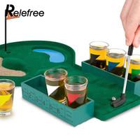 juego de golf de mesa al por mayor-Regalos de vidrios inoxidables Desktop Bar Juego de vino Golf Drinking Game Mini Enjoyment Golf Table Interesante Familia Interiores