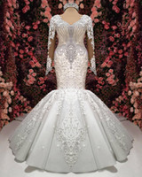 Wholesale real photo mermaid organza wedding dress resale online - Real Photos Luxury Ivory Crystals Beaded Wedding Dresses Sheer Long Sleeves Lace Appliqued Sequins Mermaid Wedding Brides Look