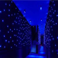 mavi ışık yıldızı toptan satış-LED ışık efektleri büyük yıldız Perde 4 m * 6 m yıldız colth sahne perdeler Mavi-Beyaz renk aydınlatma denetleyicisi LED Vizyon Perde ışık ile