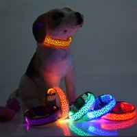 Wholesale led glow dog collar online - Colors Leopard LED Pet Dog Collar Night Safety Glow In The Dark Dog Leash Lead Tools Training Collars Dog Pet Supplies