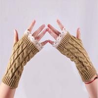 ingrosso donne mezza guanti pizzo-Guanti Mezze dita senza dita Guanti Mezze dita senza dita Guanti da donna in maglia morbida