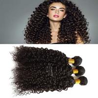 siyah kıvırcık saç toptan satış-Brezilyalı Bakire Kıvırcık Örgü 3 paket İnsan Saç demetleri siyah kadınlar için ıslak ve dalgalı çift atkı örgü saç
