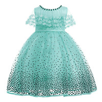 7197d6adb8a8 Baby princess dress girl beaded polka dot birthday party dress baby kids  christmas clothes 3-10 Years Old children clothing