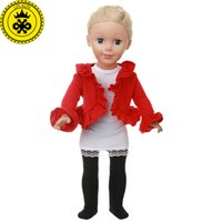Wholesale girl suit dance costume - Boneca Roupa American Girl Doll Clothes Red Dance Costume Suit for 18 inch Dolls Accessories MG-540