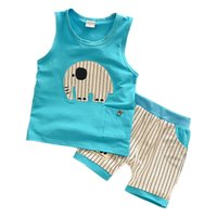 Wholesale Chinese Kids Wear - Kids Clothes Baby Boys Summer Clothes Children Clothing Sets Elephant Print Sleeveless Tops + Pants Sport Set Toddler Boy Wear