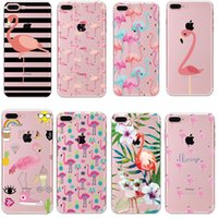 pele do animal da tampa do iphone venda por atacado-Moda flamingo animais deixa claro macio tpu de borracha de silicone voltar case capa skin para iphone 5s se x 6 s 7 8 plus