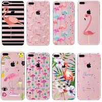 funda iphone piel animal al por mayor-Moda Flamingo Animals Leaves Clear TPU suave de silicona de silicona Volver Funda de piel para iPhone 5s SE X 6s 7 8 más