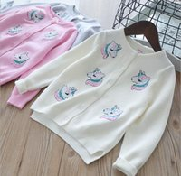 Wholesale girls sweater knit pattern - INS styles new hot selling Girl kids spring autumn long sleeve Pure cotton Cardigan Unicorn pattern knitted sweater for Girl