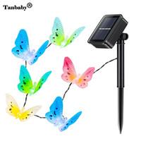 cordas de luz óptica venda por atacado-Taby Energia Solar LED String Light 12 LED Borboletas de Fibra Óptica Coloridas Luzes para Decoração de Gramado Jardim Ao Ar Livre
