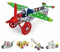 Wholesale Construction Model Kits - New 3D Assembly Metal Engineering Vehicles Model Kits Toy Car Crane Motorcycle Truck Airplane Building Puzzles Construction Play Set