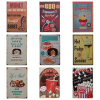 Wholesale tin gift cans - 20 cm Iron Painting Money Cannot Buy Happiness But It Can Buy Beautiful Shoes Tin Sign Cake Ice Cream Tin Poster Fashion ZB