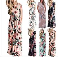 Wholesale women wholesale apparel - Dresses Women Bohemia Floral Dress Summer Maxi Dress Print Long Casual Dresses Fashion Sexy Slim Bodycon Beach Party Dress Apparel Hot B4013