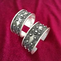 ingrosso gioielli fatti a mano d'argento di miao-Guizhou Miao Village Miao Ethnic Jewelry Handmade Miaoyin Silver Bangle Bracelet spedizione gratuita