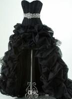 ingrosso vestito nero da promenade del neckline dell'innamorato-Classic 2018 Nero High Low Prom Dresses Corsetto scollo a cuore lucido perline Vita Pick-up Abiti da Fiesta