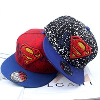 Wholesale Beret Hat Children - Kids superman costume Embroidered hat Blue Black baseball cap Super children hat cartoon Beret Hat